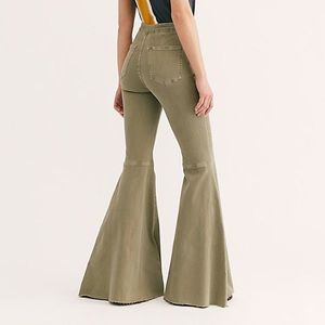 Free People Olive flare jeans